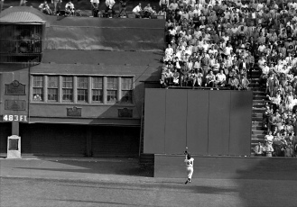 Willie Mays makes his famous catch off the bat of Vic Wertz